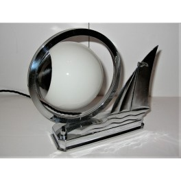 Super Chrome Art Deco Sailing Ship Lamp
