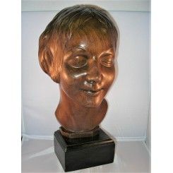 Hand Carved Solid Wood Deco Bust Of A Young Woman