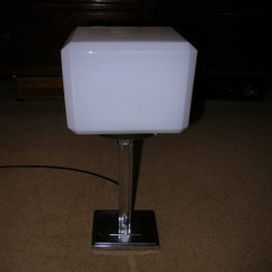 Chrome square based modernist table lamp with white cube shade