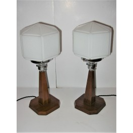 PAIR Of Egyptian Revival Deco Solid Wood Table Lamps