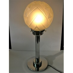 Very Large Art Deco Table Lamp With Geometric Globe Shade