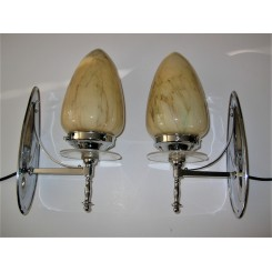 Chrome And Perspex Pair Of Wall Lights