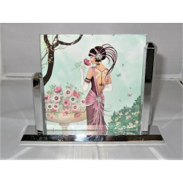 Good Art Deco heavy quality chrome asymmetric photo frame