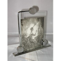 Art Deco photo frame with chrome disc supports