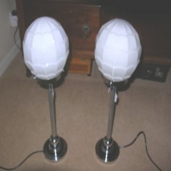 Pair of large chrome table lamps with white globes ( matches ceiling fixture )