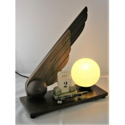 Unusual Art Deco wooden desk calendar lamp