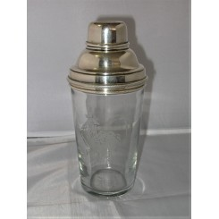 Art Deco chrome and glass cocktail shaker