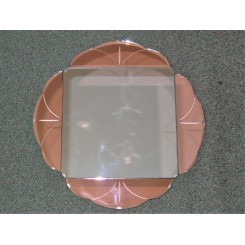 Good small Art Deco mirror with peach cloured glass decoration