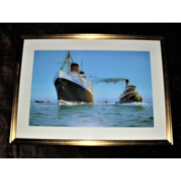 Excellent limited edition offset lithograph of the liner Queen Elizabeth