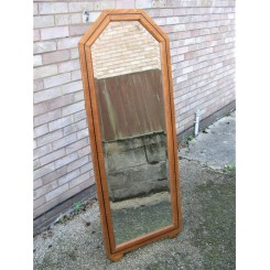 Art Deco oak framed Cheval mirror on easel support