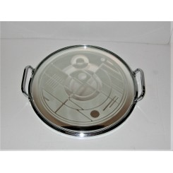 Exceptional acid etched Art Deco round gallery tray