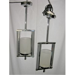 Pair Of Chrome Oblong Fixtures With Frosted Tube Shades