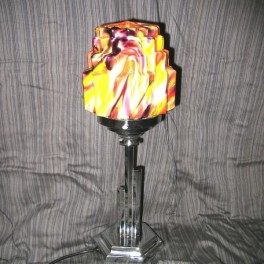 Superb  modernist hexagonal table lamp with multi coloured shade