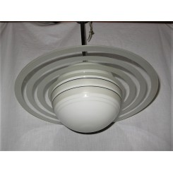 Small Saturn Ring Ceiling Fixture On Chrome Pole Mount
