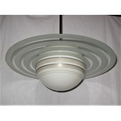 Large Saturn Ring Ceiling Fixture On Chrome Pole Mount