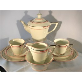 Continental Porcelain Art Deco Tea For Two Set
