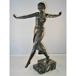 Art Deco Spelter Dancing Lady On Stepped Veined Marble Base