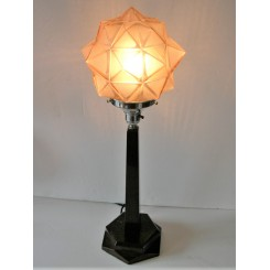 Solid Wood Art Deco Table Lamp With Star Shade