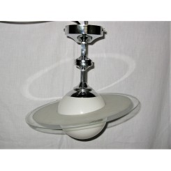 White Globe Saturn Ring Fixture On Chrome Mount