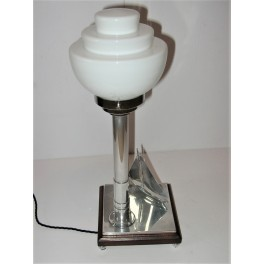 Art Deco Ship Table Lamp With White Stepped Glass Shade
