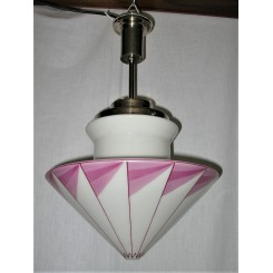 Czech Deco Conical Shade On Nickel Fixture