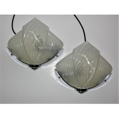 Pair Of Nasdam Glass And Chrome Wall Lights