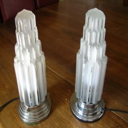 Pair of stepped design glass & chrome table lamps