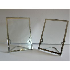 Pair Of Modernist Chrome And Glass Photo Frames