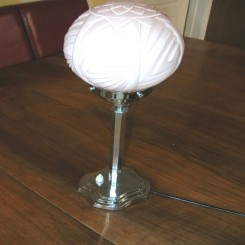 English art deco table lamp with pale pink shade