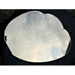 unusual peach coloured Deco Modernist mirror