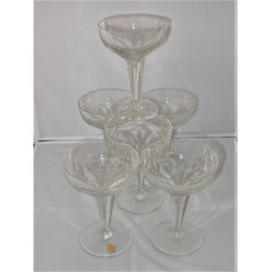 Set of 6 Belgian Art Deco Champagne coupes
