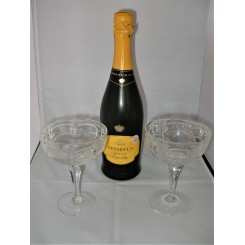Pair of cut glass Art Deco Champagne coupes