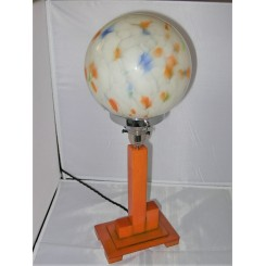 rare Cubist orange catalin table lamp with globe shade