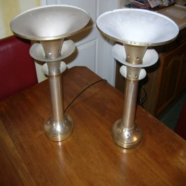 Pair of modernist french aluminium (3) trumpet table lamps