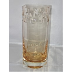 Cithness amber coloured glass vase with Art Deco design