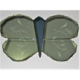 Art Deco blue and clear butterfly mirror