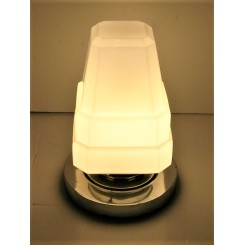 Heavy Table Lamp With Stepped Pyramid White Glass Shade