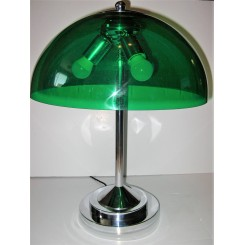 Very Large Mid Century Table Lamp With Green Perspex Shade