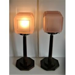 Pair of octagonal step based table lamps