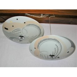 Pair of 1950s ceiling fixtures with a strong Salvadore Dali style design