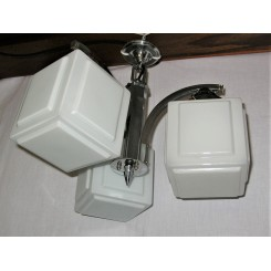 Art Deco GEC chrome ceiling fixture with cube shades