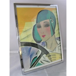 Large Chrome Art Deco Photo Frame