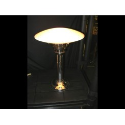 Unusual modernist chrome & glass table lamp with white oval shade