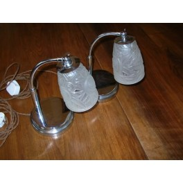 Excellent pair of german table lamps by ruppel with clear & frosted tulip shades