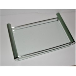 Art Deco Glass Chrome Tray With Green Metal Handles