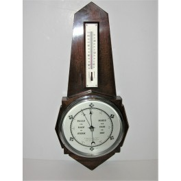 English Art Deco Wall Barometer Thermometer