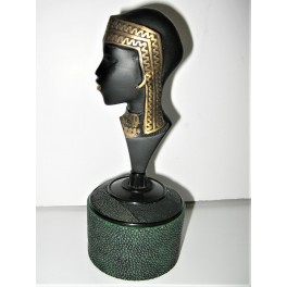 Bronze And Shagreen Covered Bakelite Powder Box Depicting A Nubian Lady