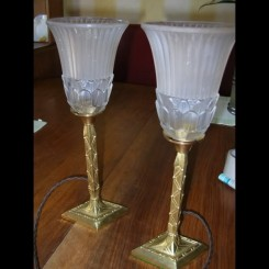(2) bronze diamond based table lamps with schneider glass shades