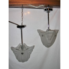 Pair of Degue bell shaped Art Deco ceiling lights