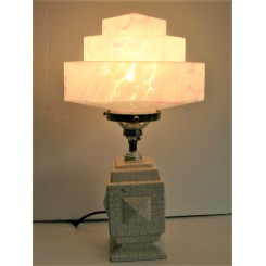Art Deco craquelle table lamp with Clichy stepped shade